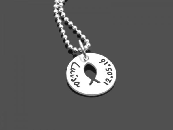 KUMBAYA 925 Silber Kette, Anhänger mit Name als Glücksbringer
