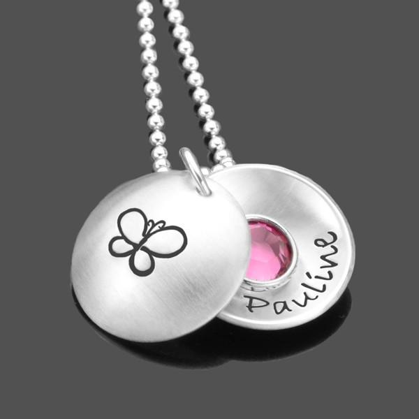 Kinderkette mit Gravur, Namenskette mit Schmetterling
