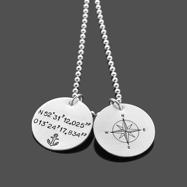 Herrenkette mit Koordinaten GPS 2.0 Silberkette mit Kompass