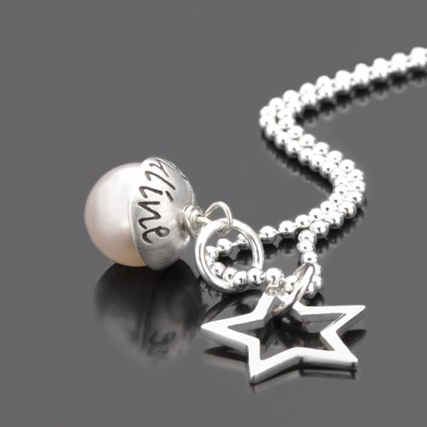 Namenskette mit Perle und Stern