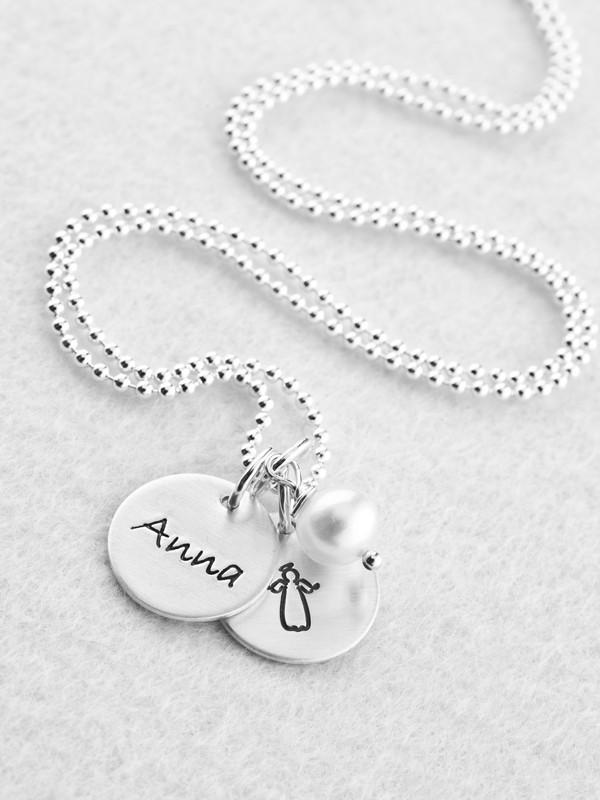 Taufkette mit Name und Engel TAUFE 925 Silberkette Namensgravur Perle Kinderkette