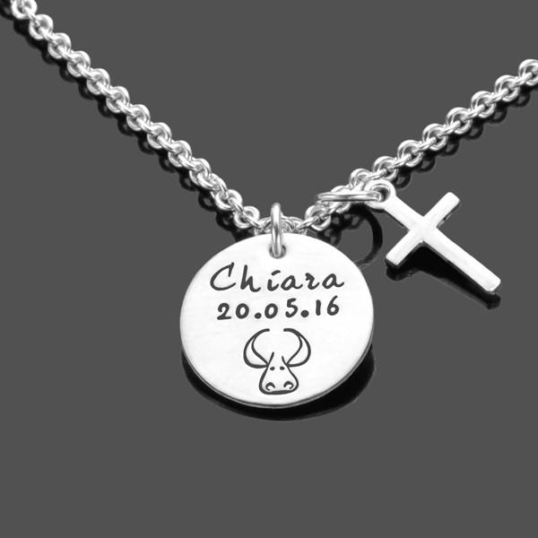 Silberkette mit Sternzeichen und Gravur