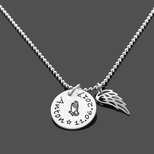 Taufkette-Junge-925-Silberkette-Namenskette-Fluegel