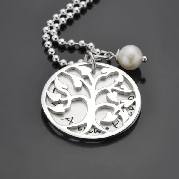 FAMILY TREE MEDIUM 925 Silber Kette, Namensschmuck mit Familienbaum