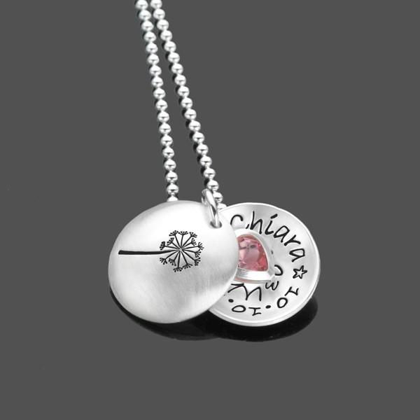 Kette Einschulung SCHULANFANG Rosaherz 925 Silber Kinderkette Gravur