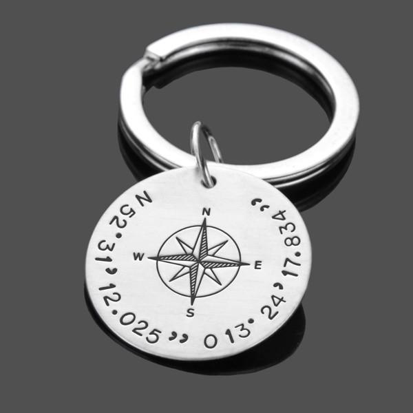 Schlüsselanhänger Gravur GPS Koordinaten 925 Mann