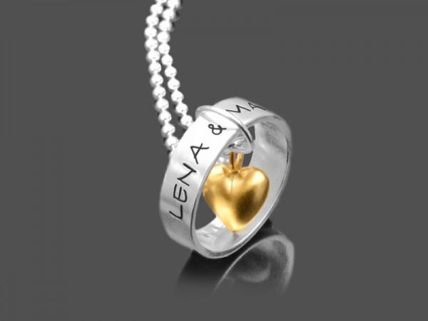 Silberkette LIEBESRING 925 Partnerschmuck individuelle Gravur