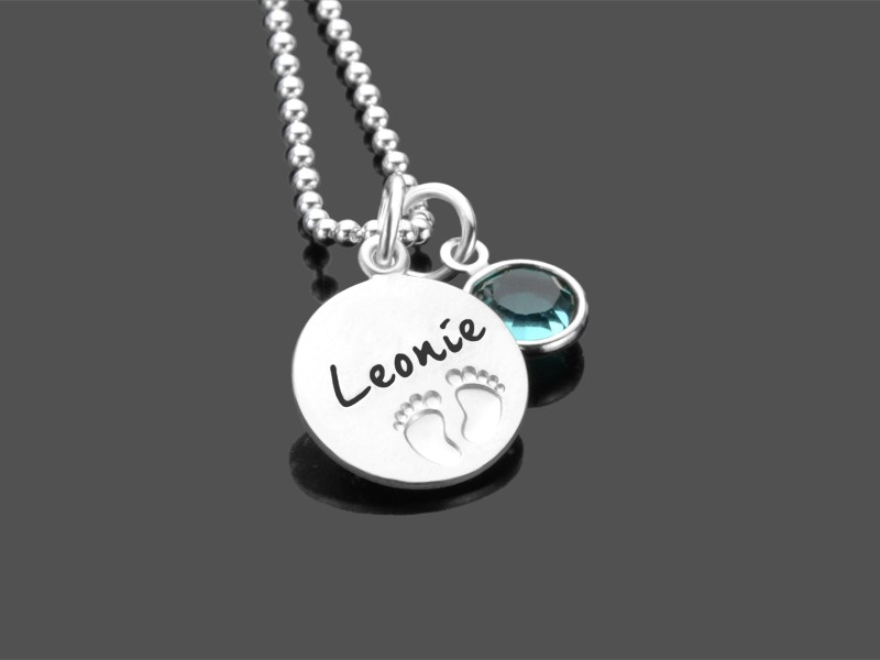 Taufkette LITTLE FEET 925 Silber Geburtskette Namenskette Gravur