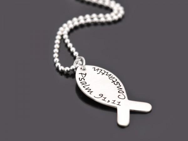 HALLELUJAH 925 Silber Kette mit Namensgravur zur Kommunion