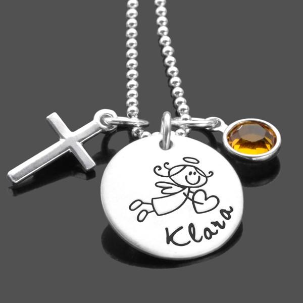 Taufkette für Maedchen mit Engel, Kreuz und Gravur