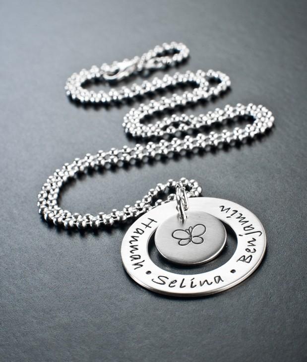 925er-Silber-Kette-mit-Namen,-Familienkreis,-Gravur