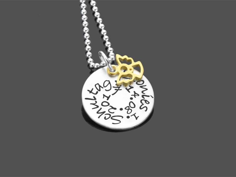 1.SCHULTAG Namenskette 925 Silber Geschenk zur Einschulung Goldengel