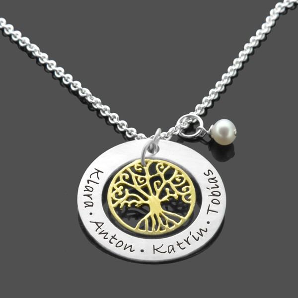Lebensbaum-Gold-Kette-925-Silberkette-mit-Namensgravur-Familienkette