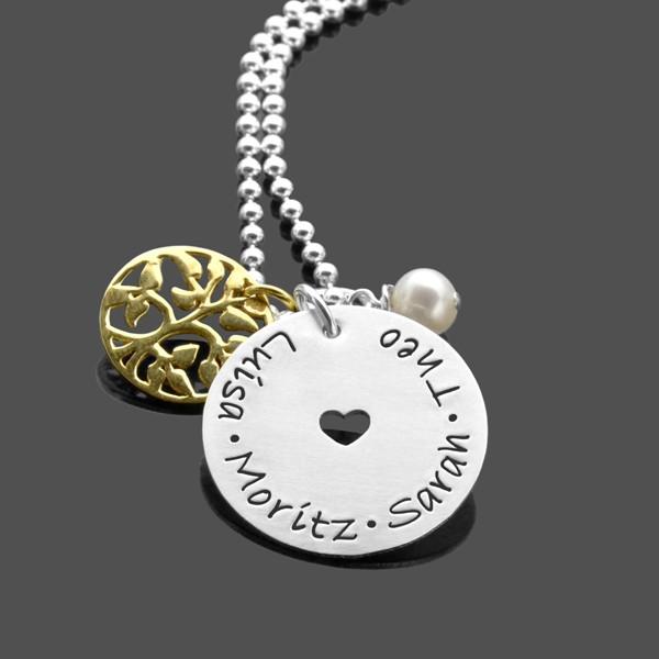 Namenskette LEBENSBAUM HERZ GOLD 925 Silberschmuck Gravur Namen