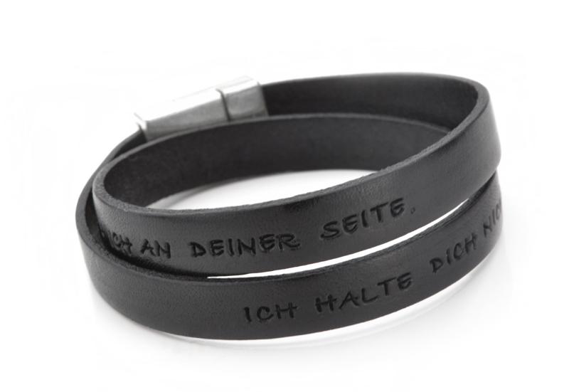 abwechslungsreiche neueste Designs exquisites Design Tiefstpreis Herren Armband mit Gravur WAS WÄR ICH OHNE DICH Männer Armband Leder