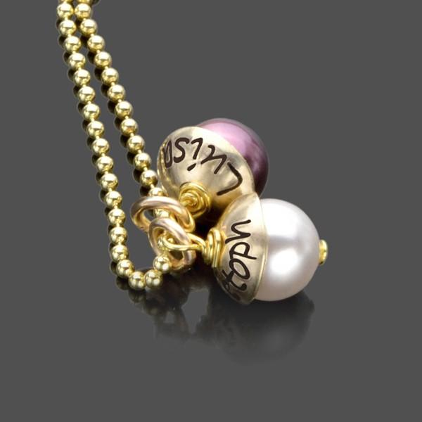 Namenskette mit 333 Gold-Hütchen LYHO DOUBLE GOLD mit Gravur