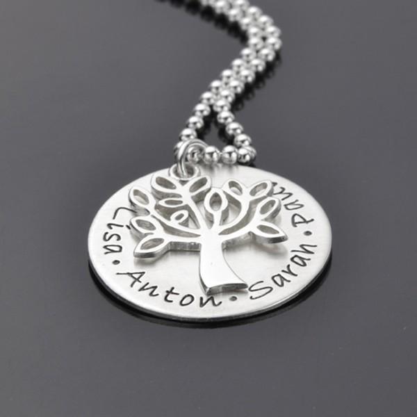 TREE OF LIFE Lebensbaum Kette mit Gravur 925 Silber