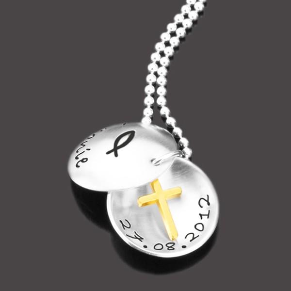 Kette zur Taufe mit Gravur aus Silber