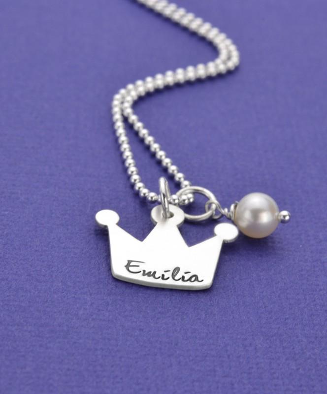 Kinder KRÖNCHEN 925 Silberkette mit Gravur Namenskette für Prinzessinnen