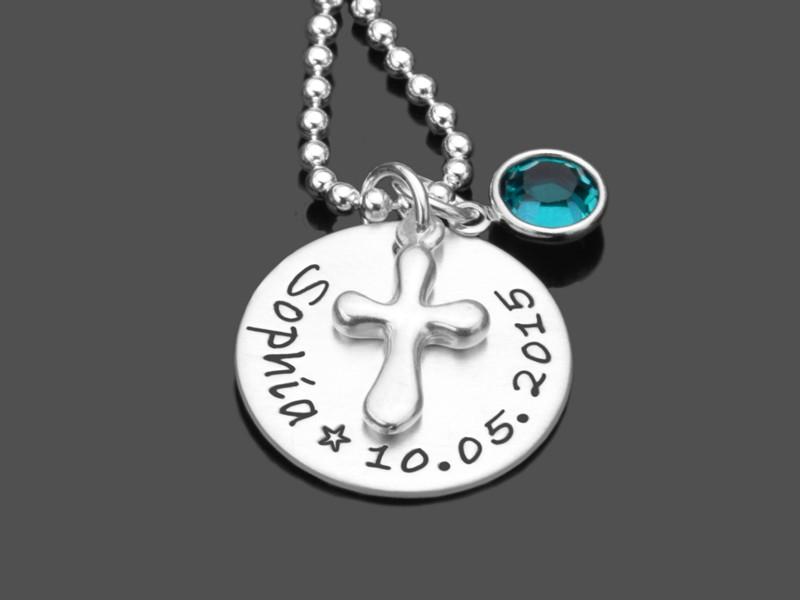 Taufschmuck mit Gravur BAPTIZED 925 Silber Taufkette mit Namensgravur