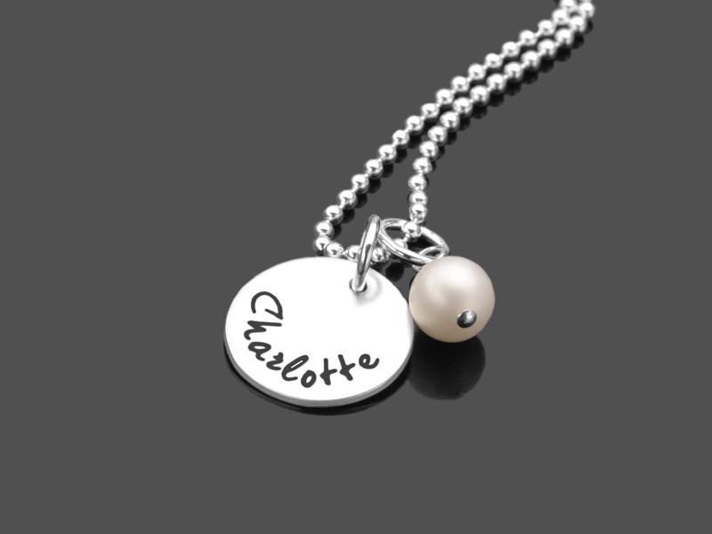 Namenskette SELECT PEARL Kette mit Gravur Silber