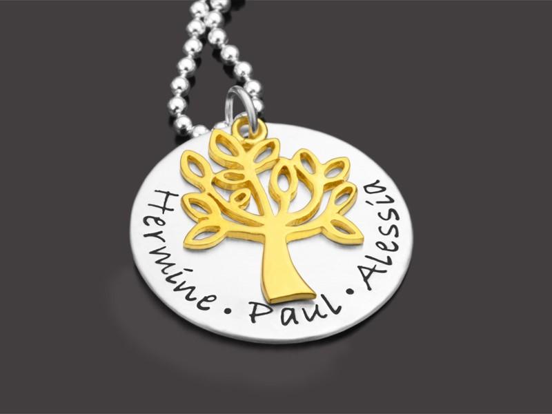 TREE OF LIFE GOLD 925 Kette mit Gravur Familienschmuck Lebensbaum