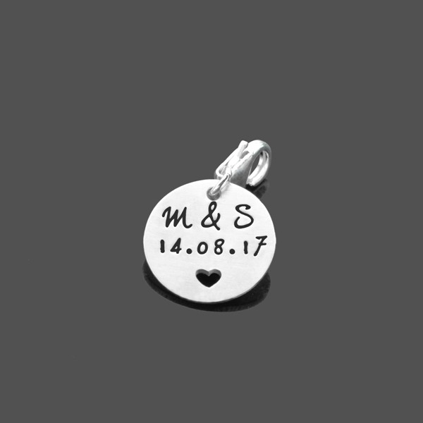 Anhänger mit Gravur GEHERZT 925 Silber Charm mit Namen und Datum