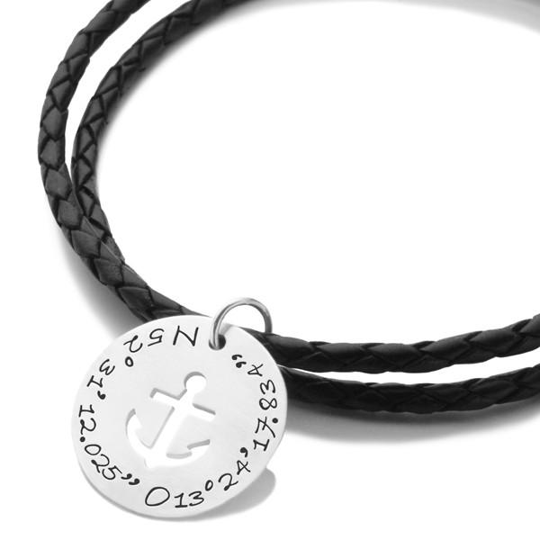 Herren-Armband-Koordinaten-Lederarmband-925-Silber-fuer-Maenner