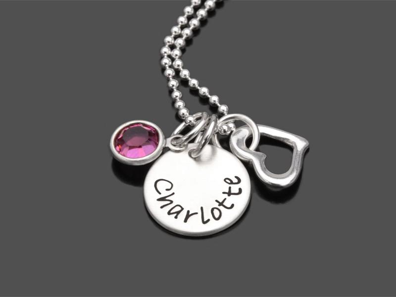 HERZ KRISTALL 925 Kinderkette Kinderschmuck mit Gravur Wunschtext