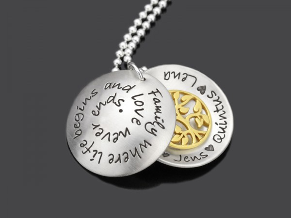 LOVE NEVER ENDS 925 Silberschmuck Familienmedaillon mit Namensgravur