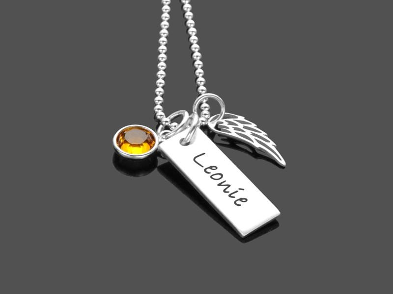 Namenskette SQUARE WING 925 Silber Kette Gravur Flügel Schmuck