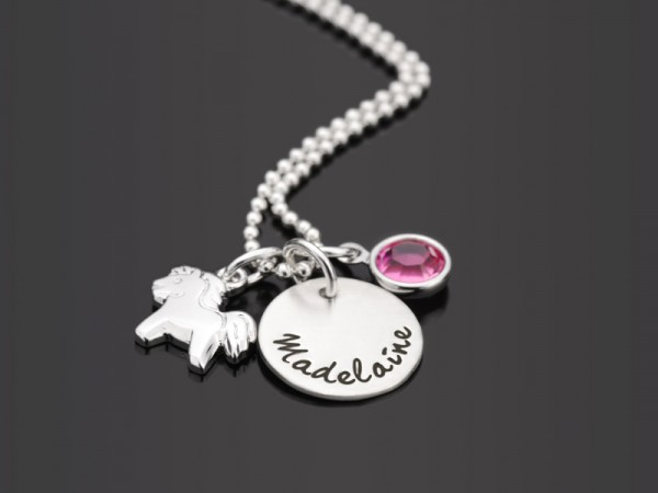 PFERDCHEN Kinderkette mit Namensgravur, 925 Silber, Namenskette