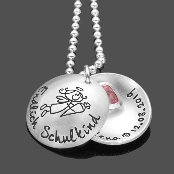 Geschenk zur Einschulung MEIN SCHULANFANG Namenskette Schulkind Schutzengel