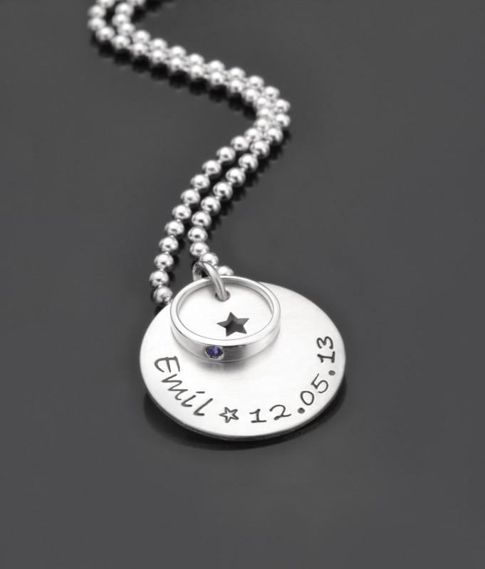 GESEGNET STERN 925 Silber Taufkette mit Taufring, Kinderschmuck, Gravur